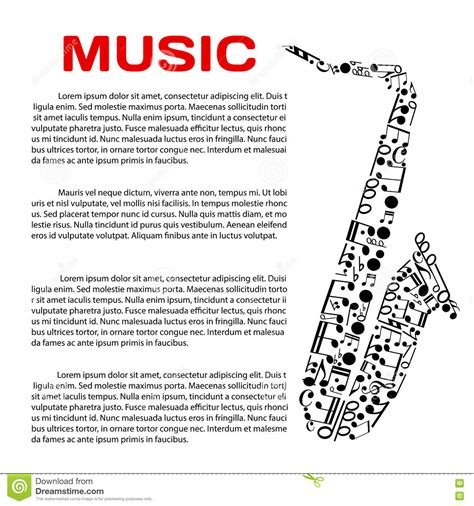 poster design notes musical poster with notes in a shape of saxophone stock