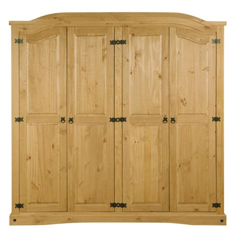 Corona Mexican Pine 4 Door Wardrobe by Corona Mexican 4 Door Wardrobe In Solid Pine Furniture123