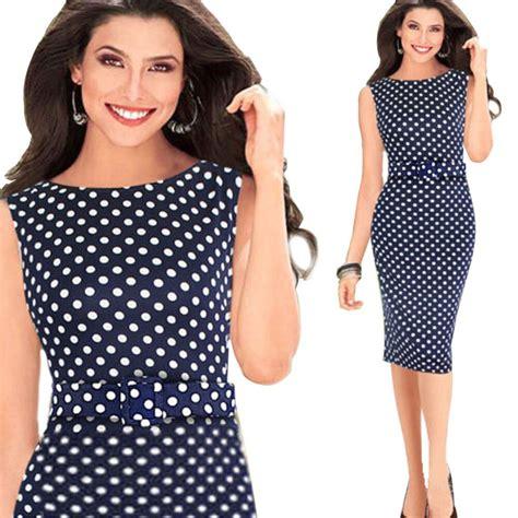 Branded Plus Size Polkadot Branded Polo Shirts Baju Wanita 2015 brand new work wear formal office dresses print casual bodycon polka