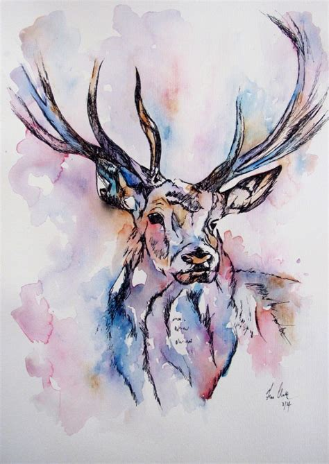 deer watercolor tattoo colourful deer illustration watercolor painting by fiona