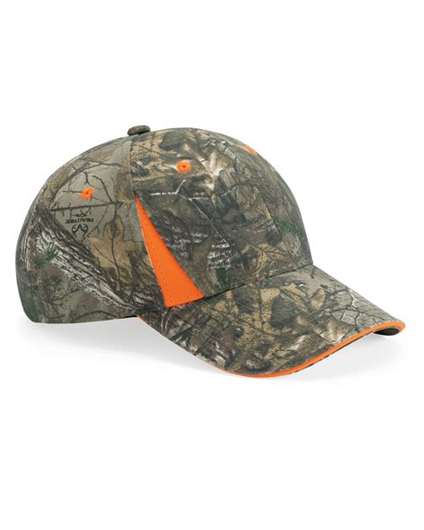 camo hat realtree xtra camo blaze orange hat cap