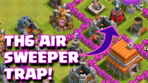 coc th6 layout with air sweeper clash of clans townhall 6 air sweeper base layout th6
