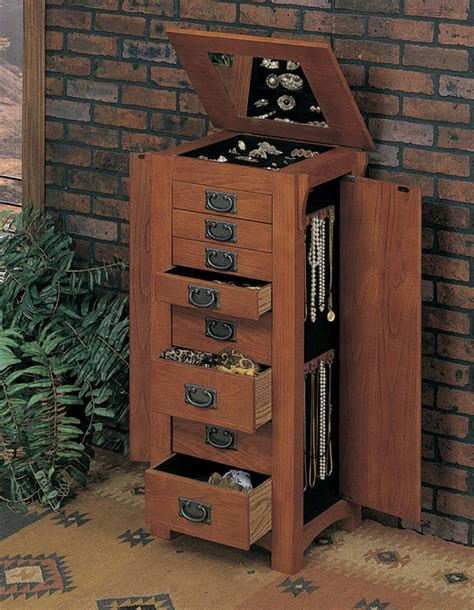 mission oak jewelry armoire mission traditional oak finish jewelry armoire wood under