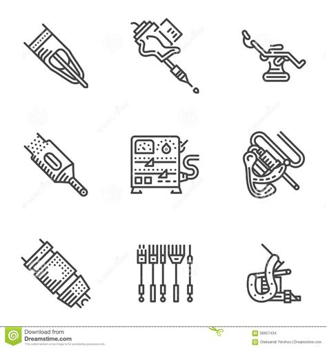 tattoo icons black line icons for equipment stock illustration