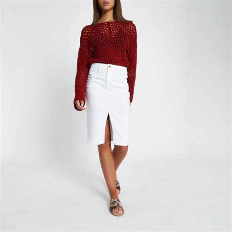 Denim Pencil Mini Skirt white contrast stitch denim pencil skirt midi skirts