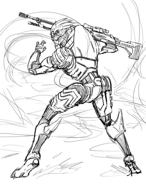 coloring book effect mass effect doodle garrus wip by 1 ace on deviantart