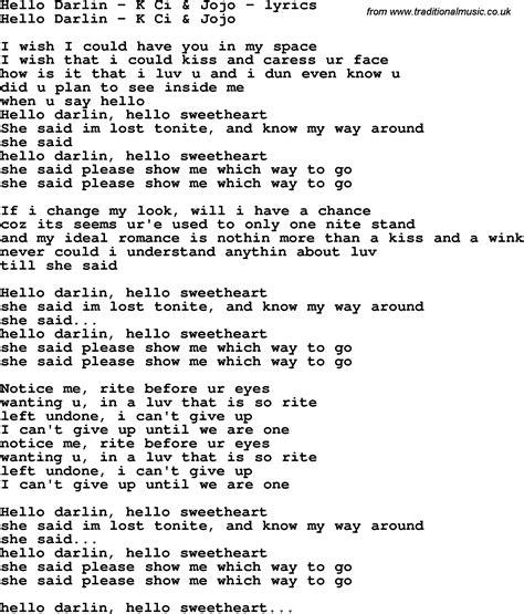 Lionel Richie Home Collection love song lyrics for hello darlin k ci amp jojo