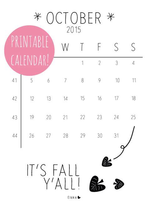 Oktober Kalender 2015 Oktober 2015 Printable Calendar Elske