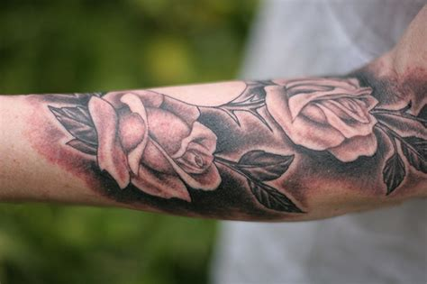 black rose sleeve tattoo design and tattoos