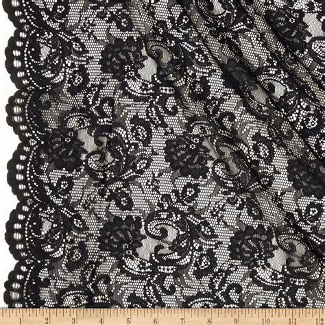 Stretch Decor Fabric by Stretch Lace Scroll Floral Black Discount Designer