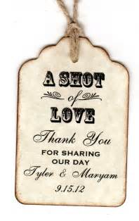 50 personalized shot of love wedding favor tags place card