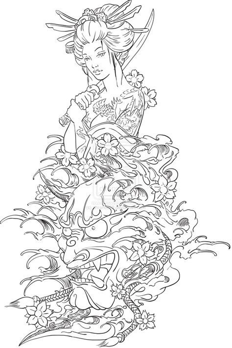 geisha tattoo designs free geisha and hannya design by phrance89 deviantart