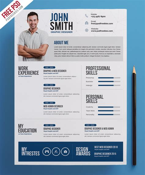 Free Creative Resume by Creative Resume Cv Psd Template Psdfreebies