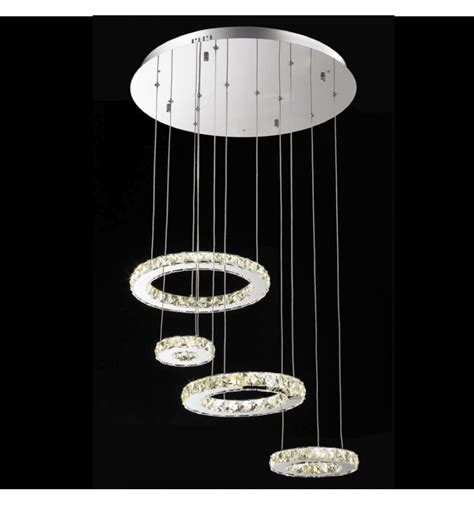 Lustre Suspension Design by Lustre Cristal Led 4 Anneaux