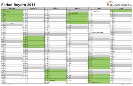 Kalender 2018 Bayern Schulferien Ferien Bayern 2018 Ferienkalender Zum Ausdrucken