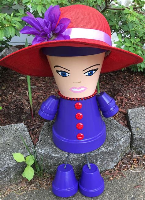 red hat society flower pot people gift   red hat