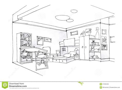 Bedroom Black And White Drawing Room Sketch In Black And White Stock Illustration