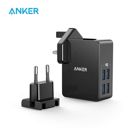 Anker Powerport Speed 5 Wall Charger Powerline Micro Usb 3ft Black anker 27w 4 port usb wall charger powerport 4 lite with interchangeable uk and eu plugs for