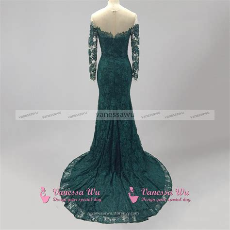 formal long sleeve lace prom dress emerald green lace prom dress long sleeve mermaid prom
