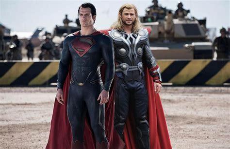 movie thor vs man of steel superman man of steel and thor vs army by worldbreakerhulk on