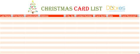 christmas list doc card list template for excel 174 dotxes