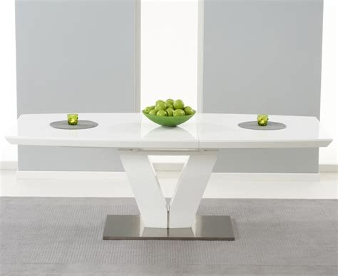 white gloss extending dining table malibu 180cm extending white high gloss dining table