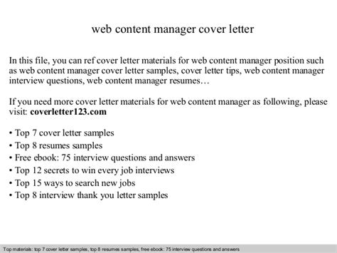 Contents Of A Cover Letter by Web Content Manager Cover Letter