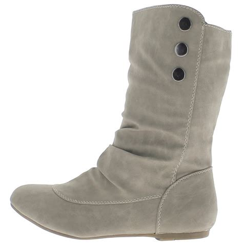 ankle boots grey flat lined leather with 3 buttons
