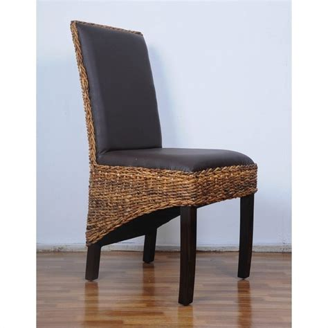 Abaca Dining Chairs Woven Abaca Dining Chair In Mahogany Set Of 2 Sg 3331 2ch