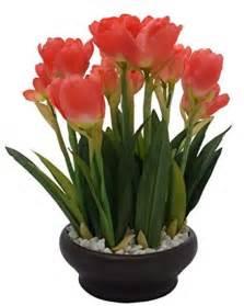 buy artificial tulip plant with stylish ceramic vase