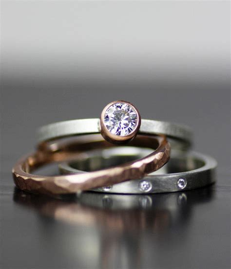 Handcrafted Engagement Ring - modern wedding band set gold and stacking wedding