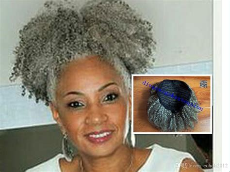 gray hair pieces for american afro kinky curly weave ponytail hairstyles clip ins gray