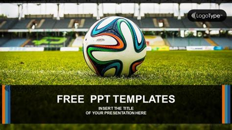 Soccer Ball On Green Grass Powerpoint Templates Soccer Powerpoint Template