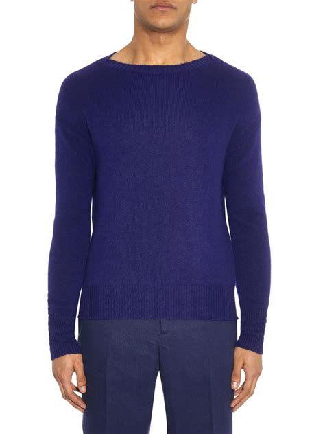 blue boat neck sweater lyst burberry prorsum boat neck cashmere blend sweater