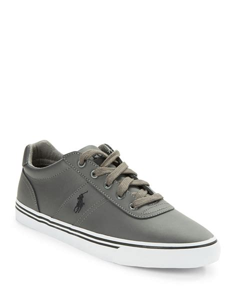 polo leather sneakers polo ralph hanford leather lace up sneakers in gray