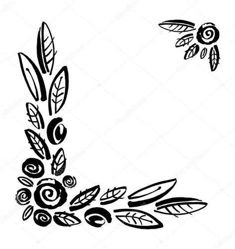 fiori stilizzati in bianco e nero cornice fiori stilizzati isolato su sfondo bianco