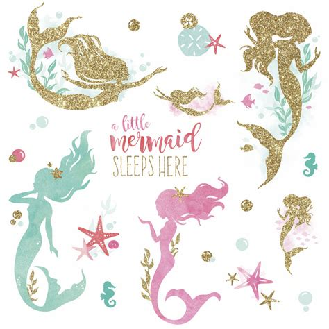 Large Nursery Wall Stickers little mermaid sleeps here glittery wall decals girl room