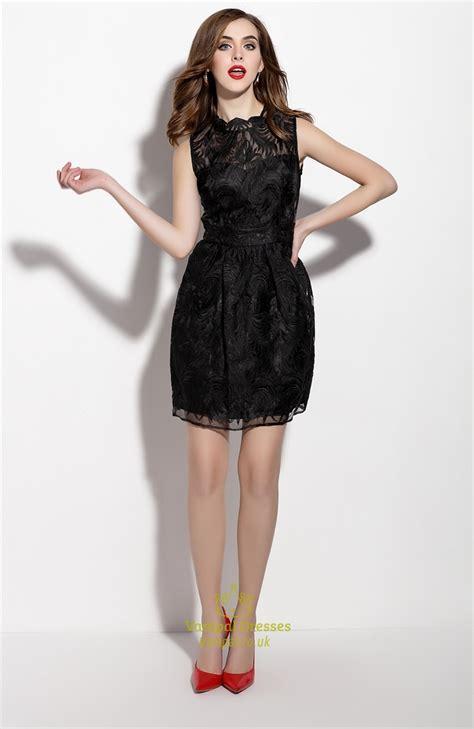 Sleeveless Lace Cocktail Dress black sleeveless lace illusion neckline sheath cocktail