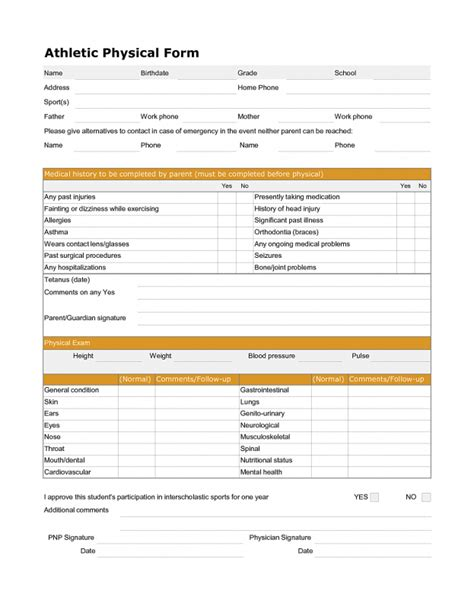 Blank Medical Forms Mughals Physical Form For Work Template