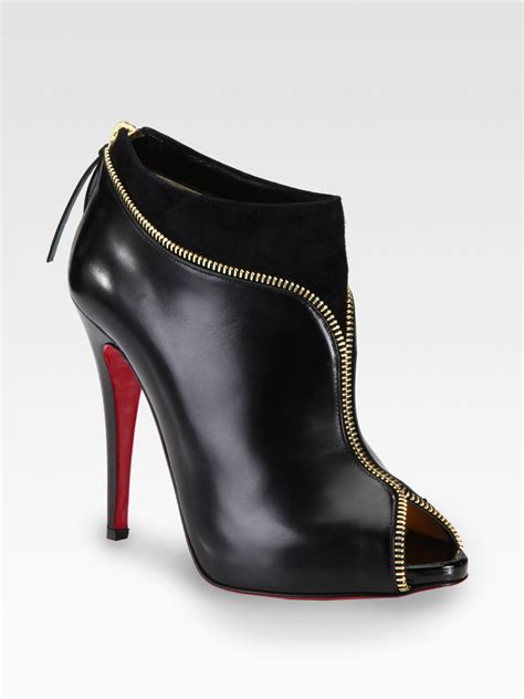 louboutin boots christian louboutin leather and suede zipper ankle boots