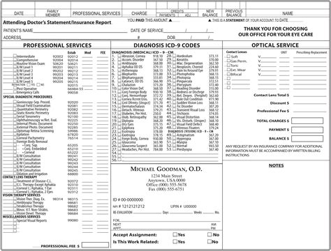 ophthalmology template sle ophthalmology superbill template