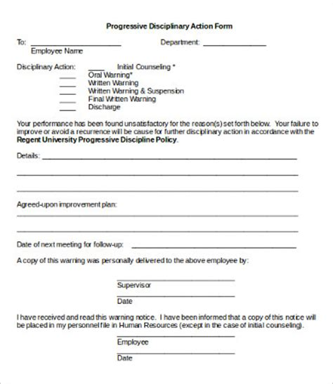 progressive discipline template disciplinary form 20 free word pdf documents