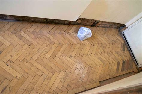 Beech reclaimed parquet fitting in New Cross SE14