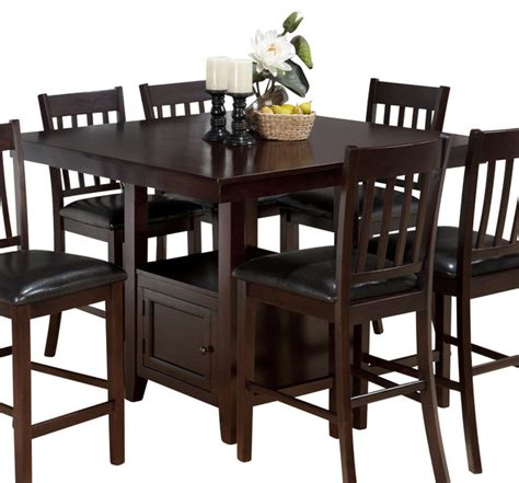 Tessa Dining Table Jofran Tessa Chianti 48 Inch Square Counter Height Table W Fixed Top And Storag Transitional
