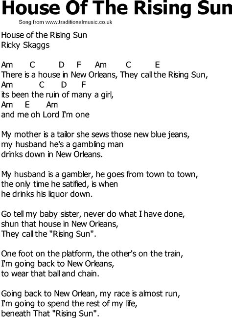 the house of the rising sun lyrics old country song lyrics with chords house of the rising sun