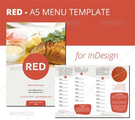 layout menu indesign red a5 menu indesign template graphicriver