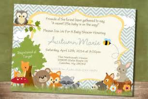 chevron forest themed baby shower invitation woodland baby