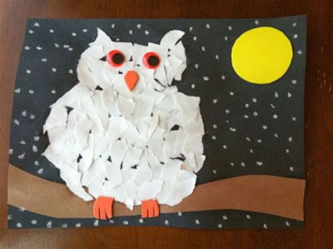 Snowy Owls Torn Paper Collage January 2013 Crafts - 36 best images about forest animals on owl