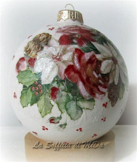 tutorial decoupage su ceramica palle di natale di ceramica biscotto decorate con