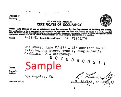 certification letter for occupancy certificate of occupancy change of use call us 213